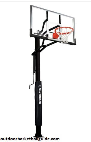 "Silverback 60"" In-Ground Basketball Hoop, Adjustable Height Tempered Glass Backboard and Pro-style flex Rim"