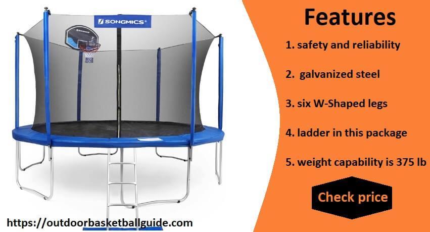 SONGMICS 15-Foot Trampoline with Enclosure Net, Basketball Hoop