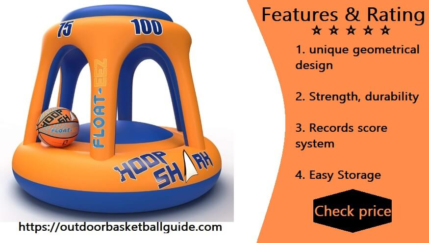 Hoop Shark Swimming Pool Basketball Hoop Set by FLOAT-EEZ - 2020 Edition - Inflatable Hoop with Ball Included - Perfect for Competitive Water Play and Trick Shots - Ultimate Summer Toy (Orange)