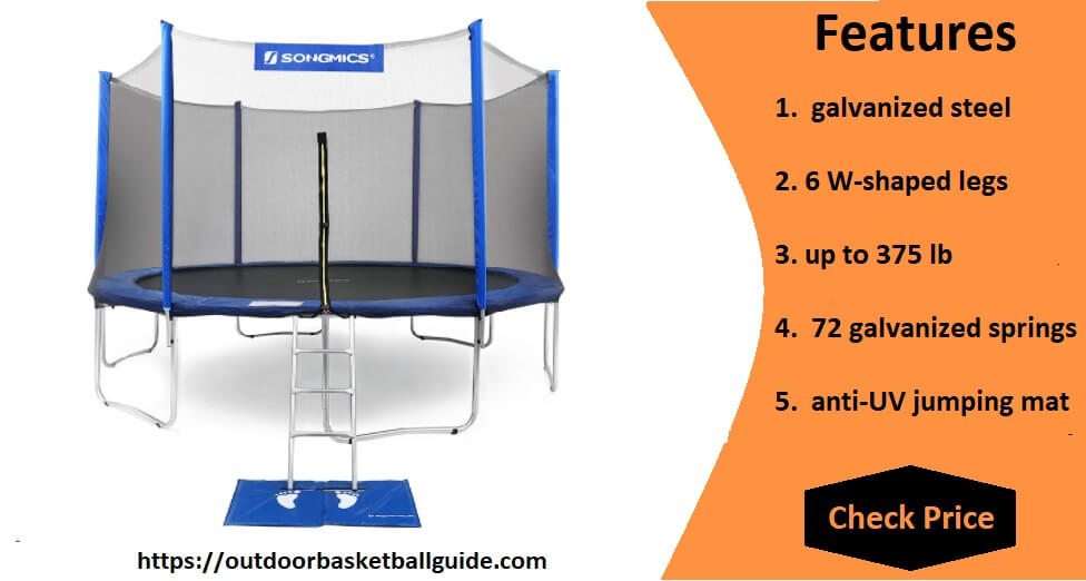 SONGMICS Trampoline with Enclosure Net, Safety Pad, Ladder