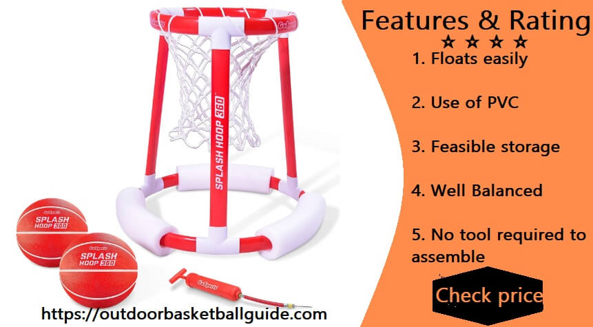 GoSports Splash Hoop 360 & Splash Pass Floating Pool Games | Choose Between Basketball and Football | Set Includes Hoop, Balls and Pump