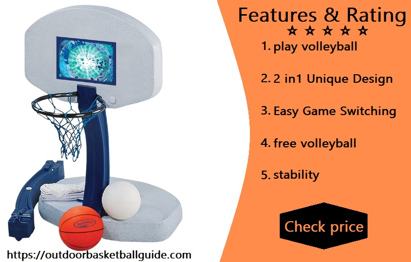 SwimWays 2 In 1 Pool Sport Combo Set - Outdoor Volleyball & Basketball Net For Swimming Pool