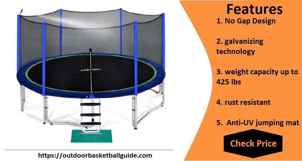 Zupapa 15 14 12 10 FT Trampoline 425LBS Weight Capacity for Kids with Safety Enclosure