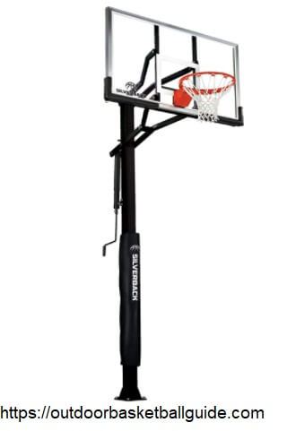 """Silverback 60"""" In-Ground Basketball Hoop, Adjustable Height Tempered Glass Backboard and Pro-style flex Rim"""